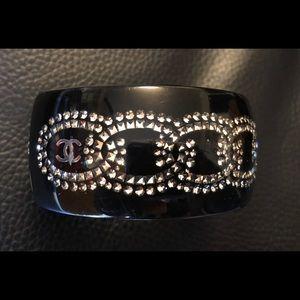 Chanel Resin Bracelet Swarovski Chain Motif CC